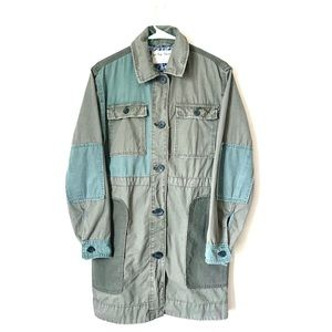 Free people Green Patchwork Cotton Army Jacket